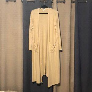 A LuLaRoe XL tan/sand colored sarah cardigan.